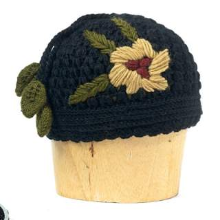 Hotknots and Tara Rose Embrodered Knit Hat Black