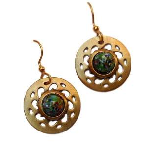 Pierced Goldtone Discs with Center Stone Dangle Earrings