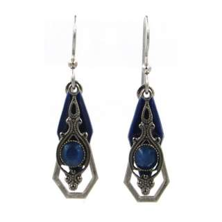 Silver Forest Blue and Silvertone Elements Dangle Earrings