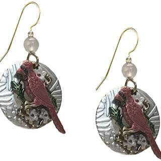 Cardinals White Flowers on Discs Dangle Earrings