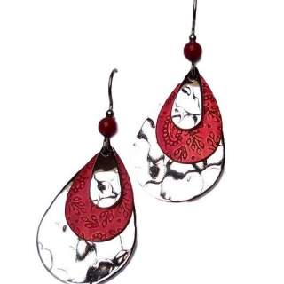 Silver Forest Red and Silvertone Dangle Earrings