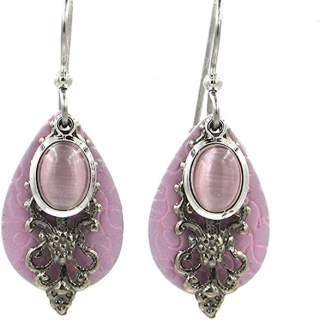 Pink Teardrops & Stone Dangle Earrings