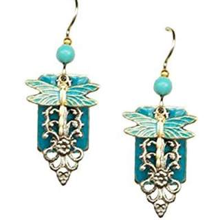 Dragonfly on Teal Rectangle Dangle Earrings