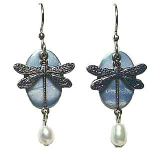 Blue Winged Dragonfly on Blue Oval Dangle Earrings