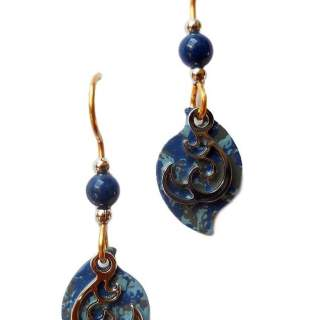 Silver Forest Blue Speckled Hurricane and Bead Dangle Earrings