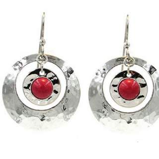 Silver Forest Large Silvertone Hammered Hoops with Red Stone Dangle Earrings