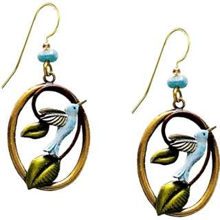 Bluebirds with Leaves on Large Open Ovals Dangle Earrings