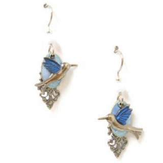 Silver Forest Blue-winged Hummingbird Dangle Earrings