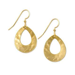Goldtone Open Teardrops Dangle Earrings