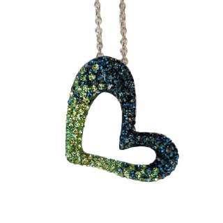 Chelsea Taylor Open Heart Necklace in Seattle Seahawks Colors