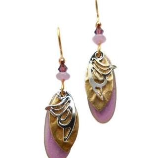 Lavender & Goldtone Layers Dangle Earrings