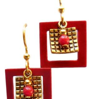 Red and Goldtone Squares Dangle Earrings
