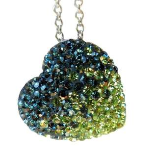 Chelsea Taylor Heart Necklace Seattle Seahawk Colors