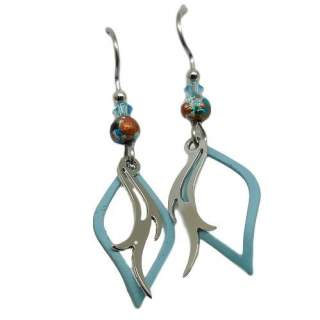 Silver Forest Blue Open Shapes and Silvertone Layers Dangle earrings