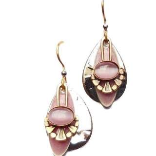 Silvertone Ovals & Pink Pearlized Stone Dangle Earrings