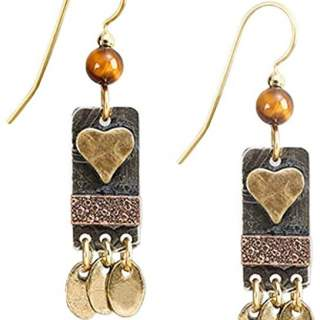 Heart on Rectangle Dangle Earrings
