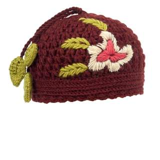 Hotknots and Tara Rose Embrodered Knit Hat Brick