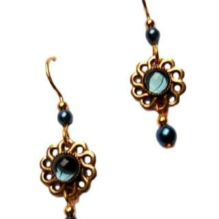 Silver Forest Teal Beads and Goldtone Accents Dangle Earrings