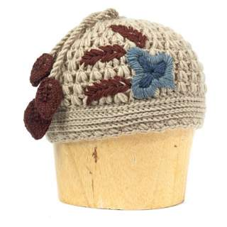 Hotknots and Tara Rose Embrodered Knit Hat Mocha
