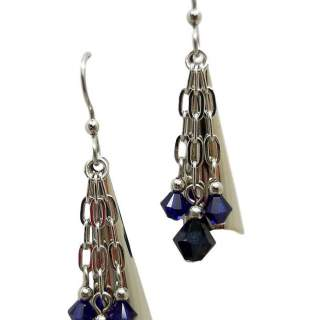 Silvertone Shapes & Blue Dangling Beads Dangle Earrings