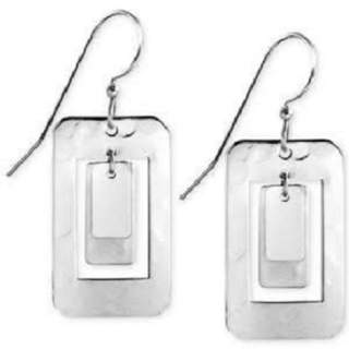Silvertone Open Rectangle Dangle Earrings