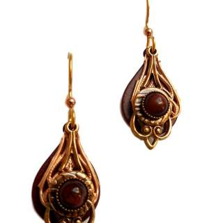 Red Tiger Eye With Filagree Dangle Earrings