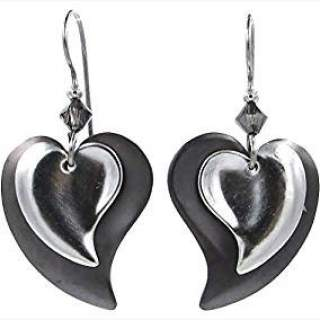 Silvertone Double Hearts Dangle Earrings