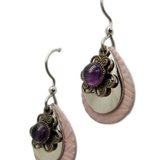 Silver Forest Pink Teardrops with Amethyst Dangle Earrings