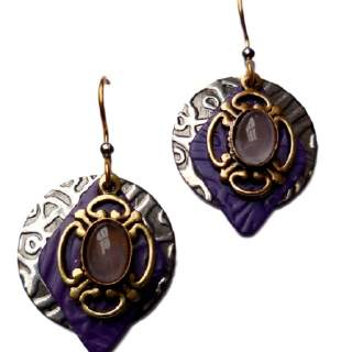 Silver Forest Purple Shapes & Stone Dangle Earrings