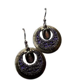 Amethyst with circles Dangle Earrings