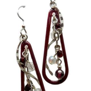Wine-colored Shapes and Beads Dangle Earrings