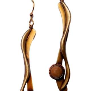 Silver Forest Long Goldtone Dangle Earrings with Jasper