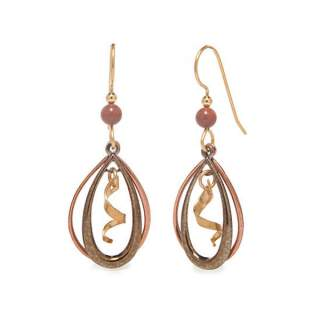 Copper Open Teardrops with Squiggle Dangle Earrings