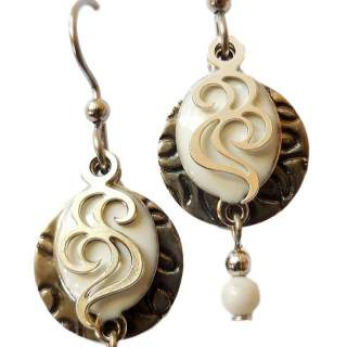 Silvertone Embossed Disc with White Enameled layer & bead Dangle Earrings