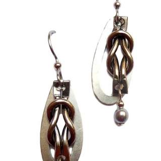 Silver Forest Silvertone Open Ovals with Knot Dangle Earrings