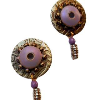 Embossed Discs with Purple Center Stud Earrings
