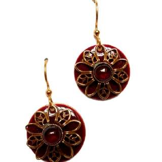 Garnet and Goldtone Fliigree Flower Dangle Earrings
