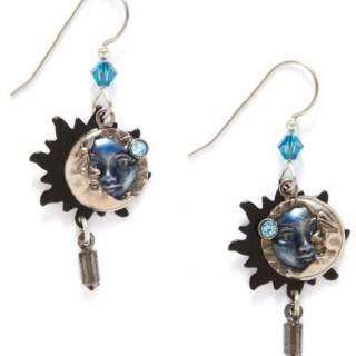 Silver Forest Blue Eclipse Layered Dangle Earrings