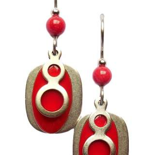 Silver Forest Red & Silvertone Shapes Dangle Earrings