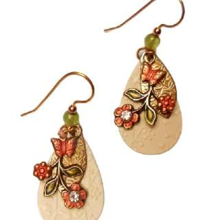 Silver Forest Orange Flowers and Butterflies Dangle Earrings