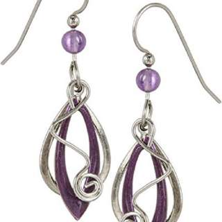 Silvertone & Purple Shapes with Squiggle Dangle Earrings