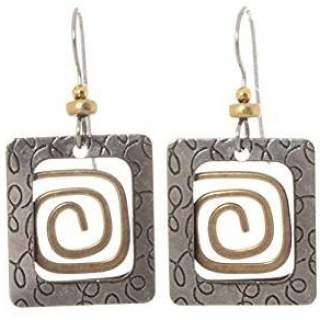 Textured Square with Coil Dangle Earrings