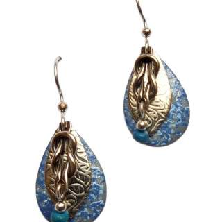 Blue Speckled Shapes with Silvertone Layers Dangle Earrings