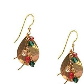 Goldtone Teardrops with Red & Green Beads Dangle Earrings
