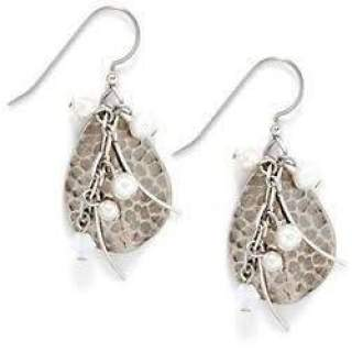 Hammered Teardrops with Faux Pearls Dangle Earrings