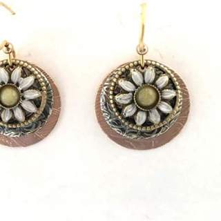 Sunflowers on Discs Dangle Earrings