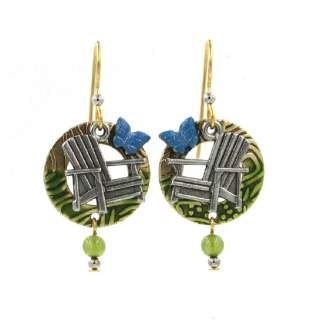 Adirondak Chairs Butterflies and Circles Drop Earrings