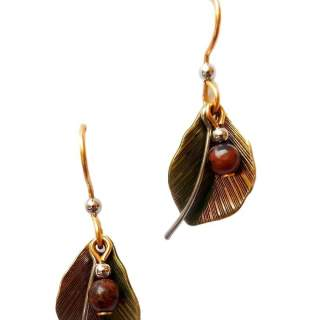 Leaves and Bead Drop Earrings