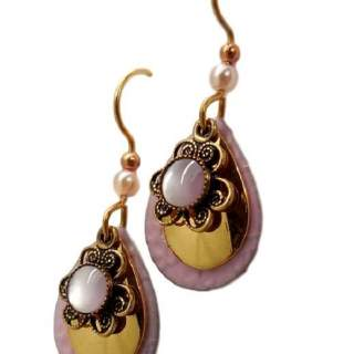 Silver Forest Pink Teardrops and Mussel Dangle Earrings