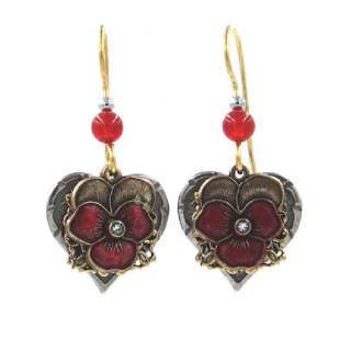 Red Pansies Dangle Earrings
